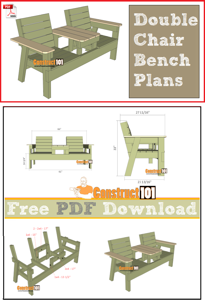double chair bench with table free plans