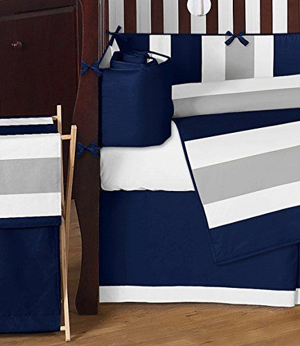 Modern Navy Blue and Gray Stripe Print Boys Baby Bedding 9 Piece Crib Set with Bumper