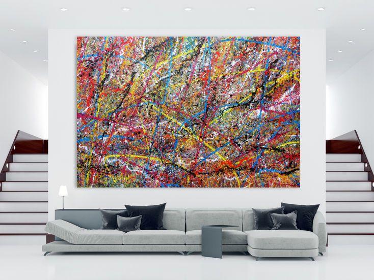sehr grosses xxl gemalde abstrakt modern bunt 200x300cm von alex zerr abstrakte kunst auf leinwand picasso bild gold