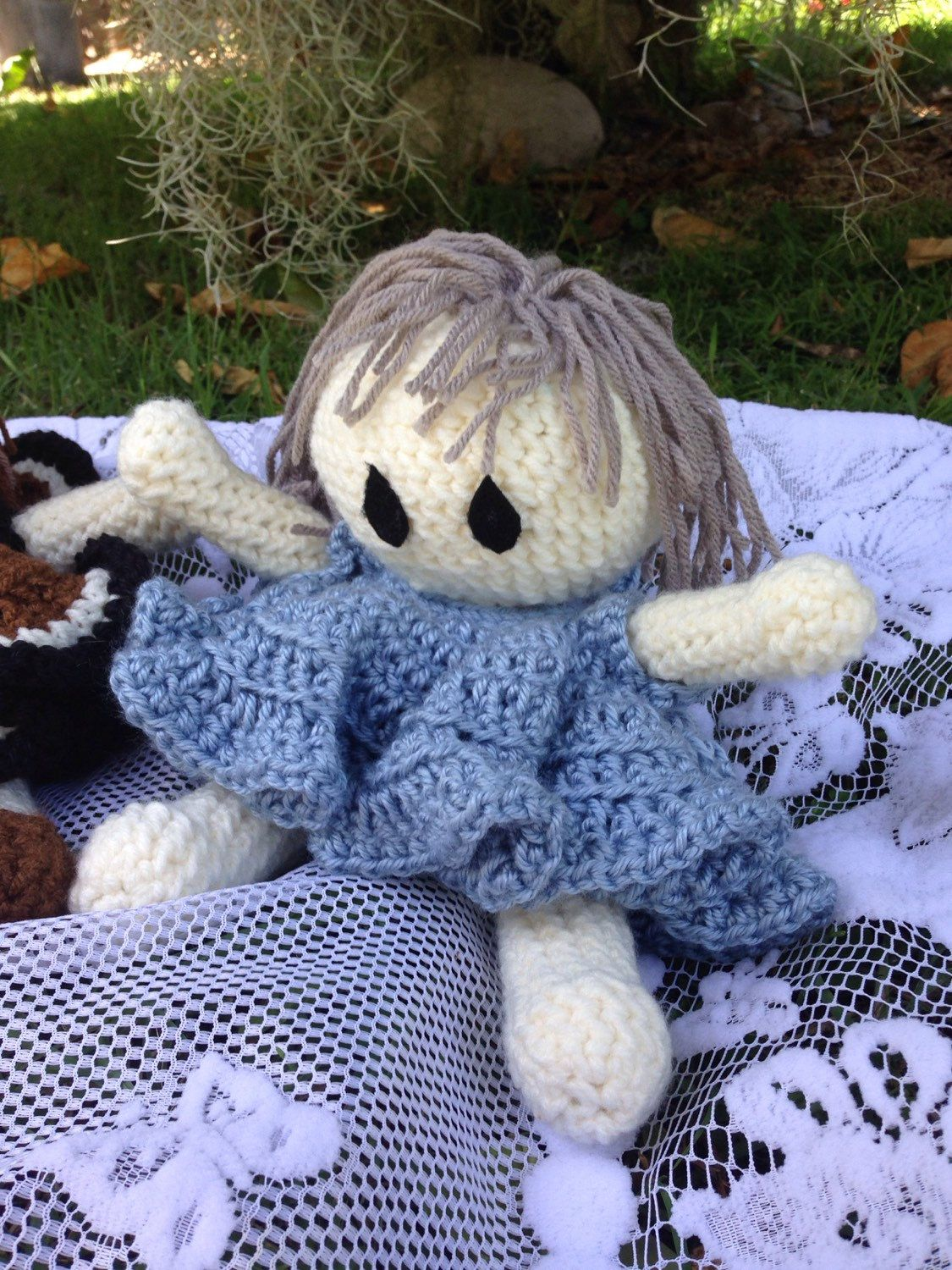 A personal favorite from my Etsy shop https://www.etsy.com/listing/238000377/handmade-crochet-doll-bed-doll-blue