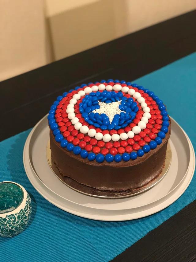 Peachy Homemade Captain Americas Shield Cake With Mms Food Captain Birthday Cards Printable Giouspongecafe Filternl