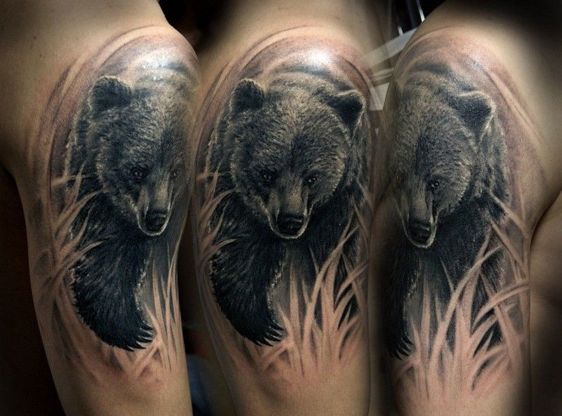 Wonderful running bear tattoo on shoulder | tattoos ...