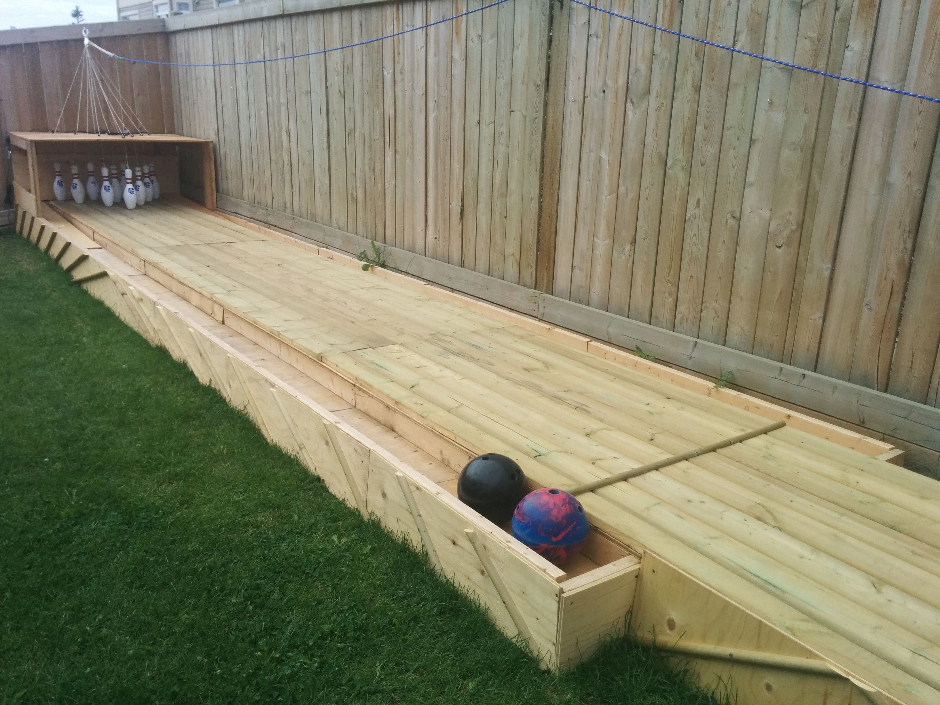 Amazing Diy Wood Backyard Bowling Alley Backyard Diy Backyard