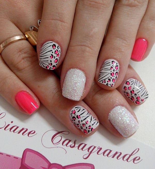 A Pretty Pink And White Leopard Nail Art Design With Glitter Cheetah Nail Designs Leopard Nail Art Leopard Nails