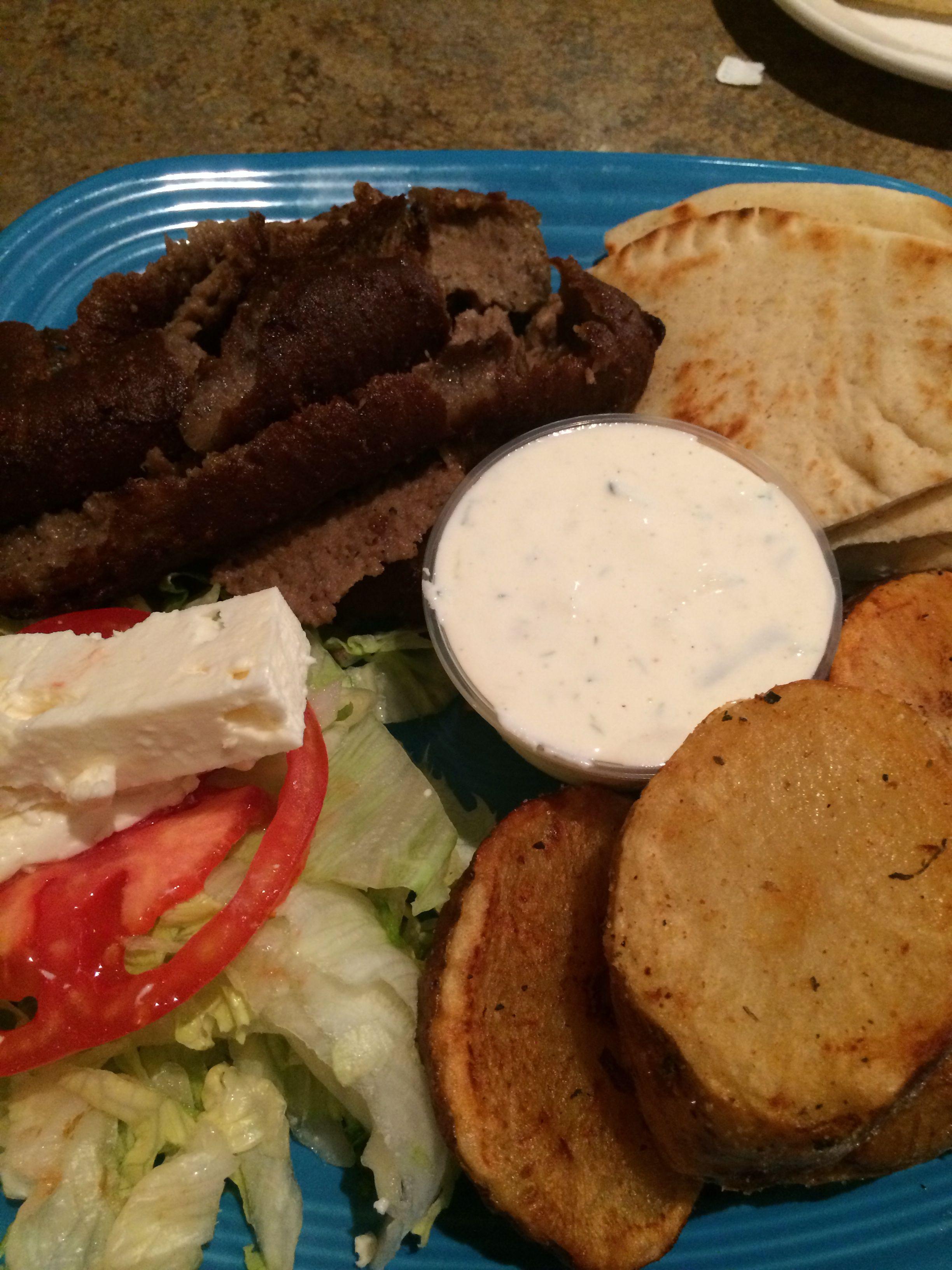 Beef/lamb Gyro platter at Athens Kouzzina. Greek potatoes, salad with feta goat cheese.