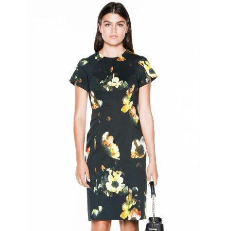 62362aed53 Black floral satin abstract by Vetonika Lane     Pencil Dress
