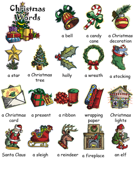 Christmas Words - English - Christmas Words - English Education For The Home Pinterest