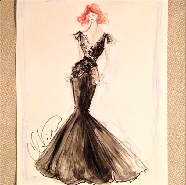 An Editor's Pick The Fashion Skinny Christian Siriano Releases Sketch for Chirstina Hendricks Emmys Dress