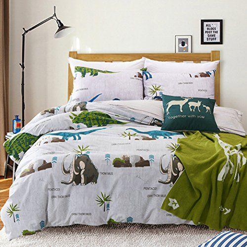 Maxyoyo Simple Cartoon Dinosaur Duvet Cover Setage Of Dinosaurs Cotton Bedding Set For Kids Twin Full Que Kids Bedding Sets Kids Duvet Cover Girls Bedding Sets
