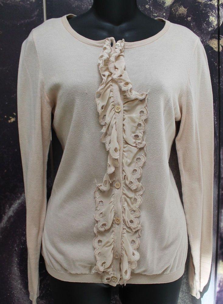 Moschino Cheap & Chic Eyelet Trim Button Down Cotton Cardigan ...