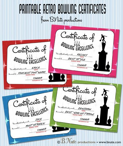 free printable bowling award certificates from bnute productions the perfect way to end a bowling party - Bowling Certificates Template Free