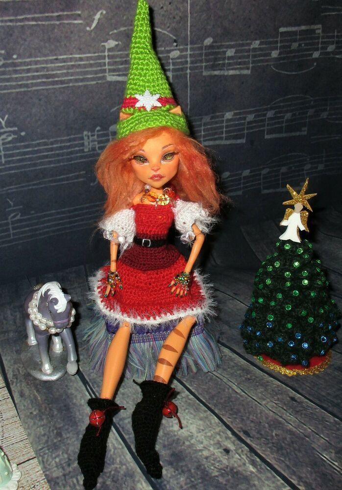 Orange KITTY ELF on the Shelf ooak Monster High Doll