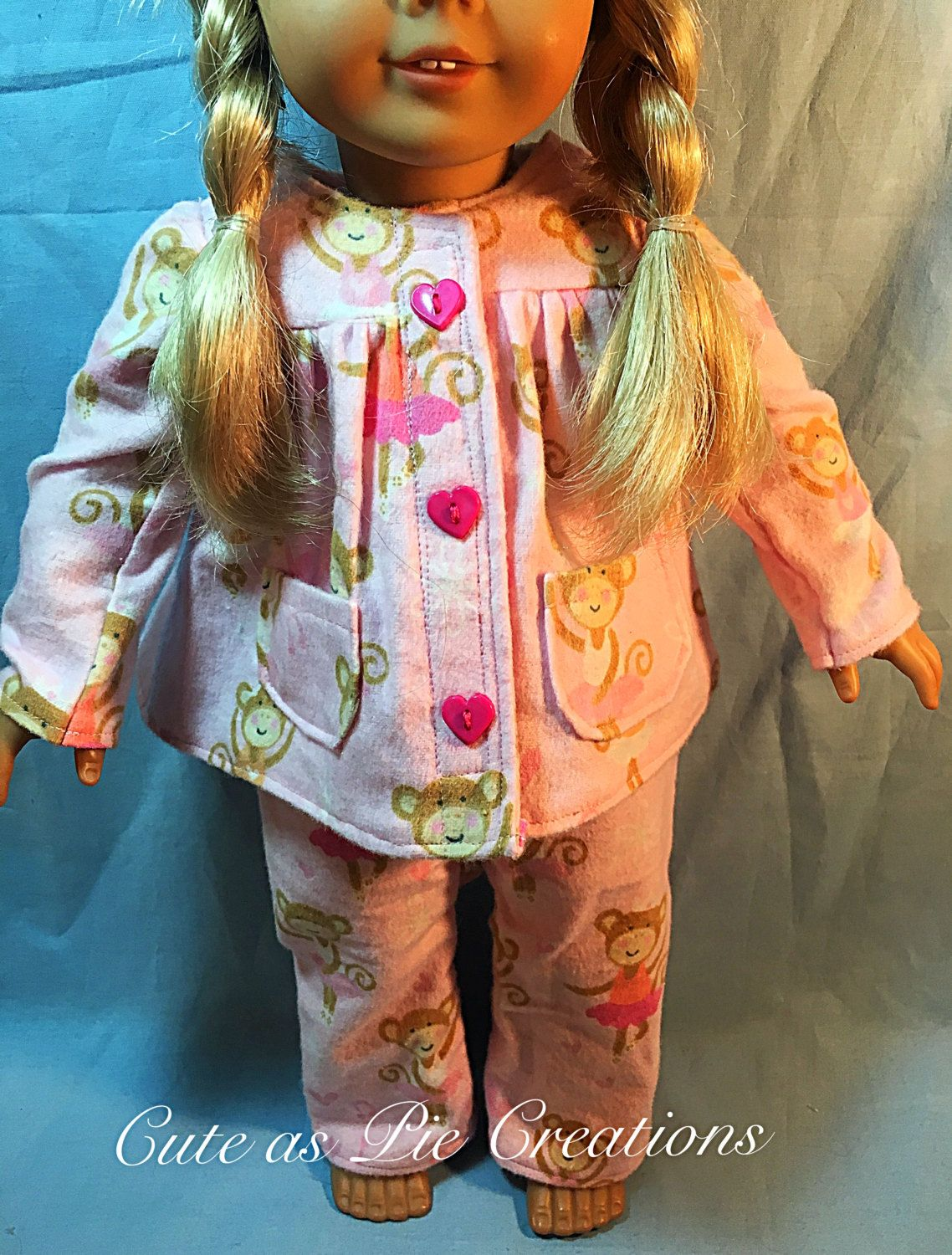 American Girl Doll Clothes, 3PC. Light Pink with Monkeys Flannel Pajama set. 18…