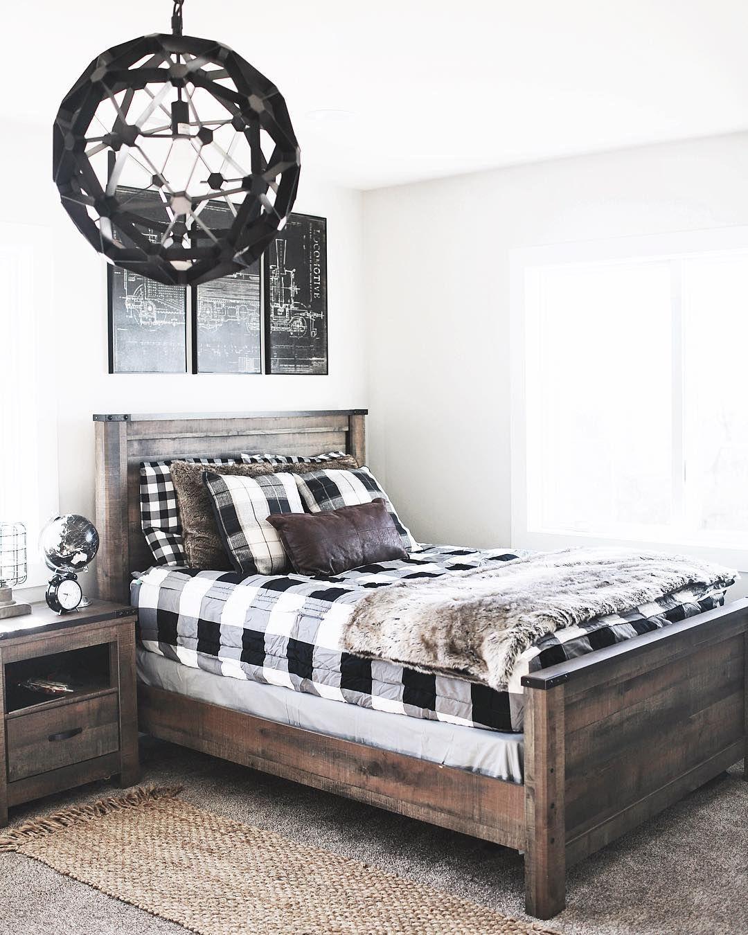 boys bedroom rustic teen black white wood @ninaandcecilia ...