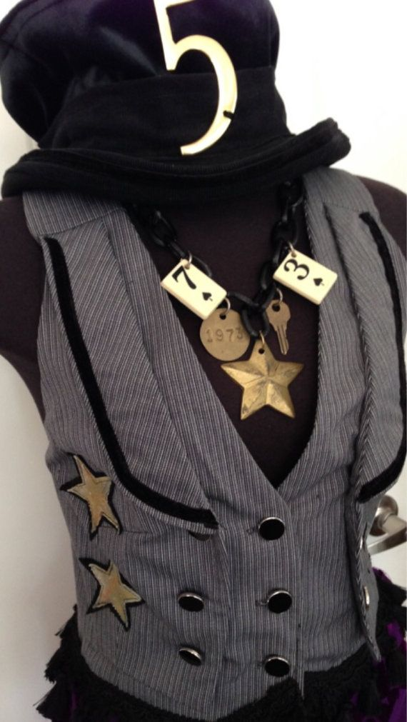Steampunk Vest Waistcoat with Carnival stars by by RetroGCouture