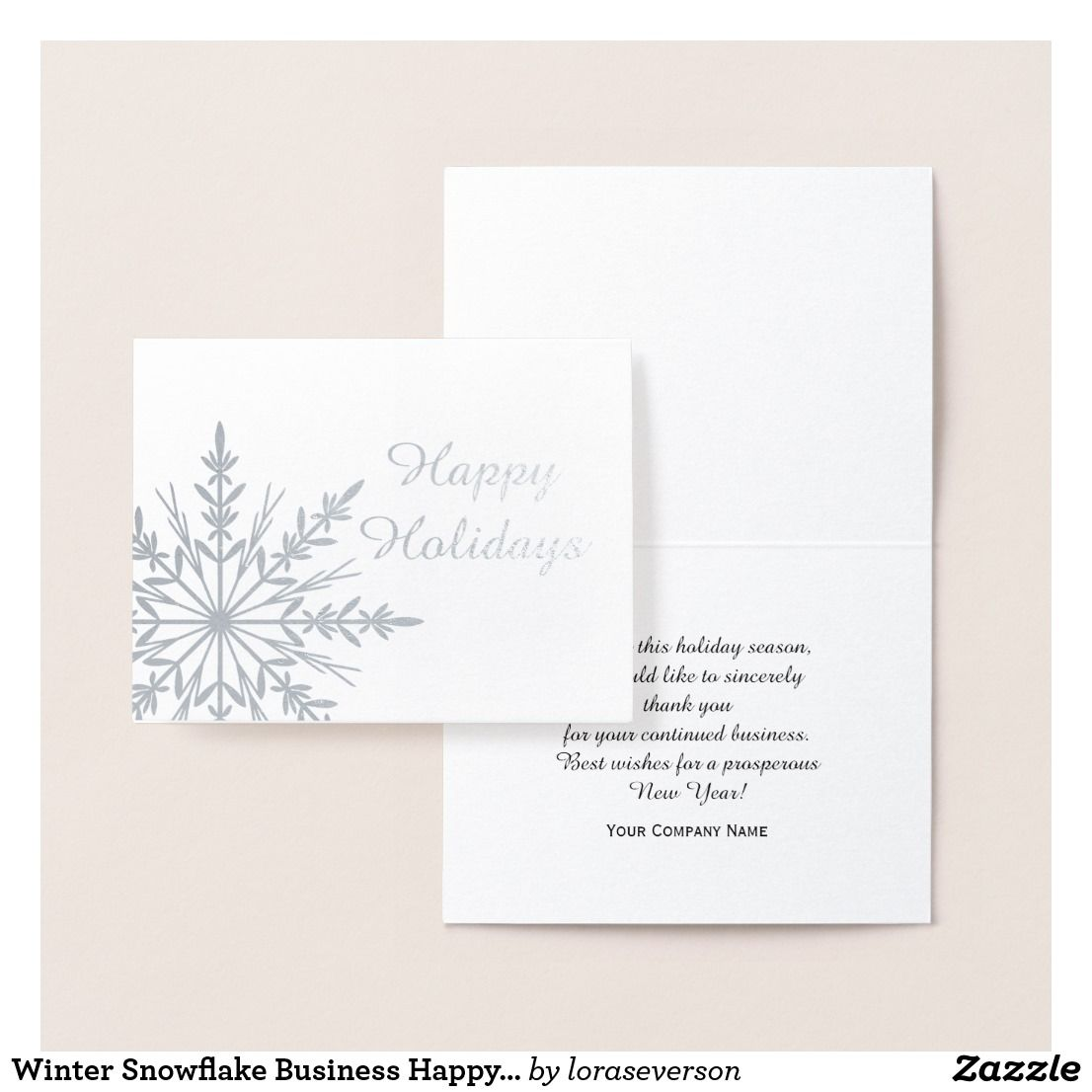 Winter Snowflake Business Happy Holidays Foil Card Zazzle Com