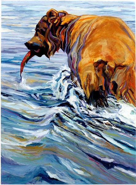 Moonstruck by Terry Lee Grizzly Bear Wildlife Canvas Giclee L//E Print 16x24