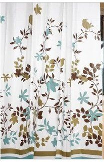 Garden Floral Shower Curtain With Hooks 71 X 71 Blue Brown