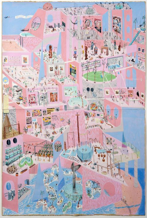 Charlie Roberts, Choppy-Mart, 2011. 90 x 45 Inches, graphite and gouache on paper