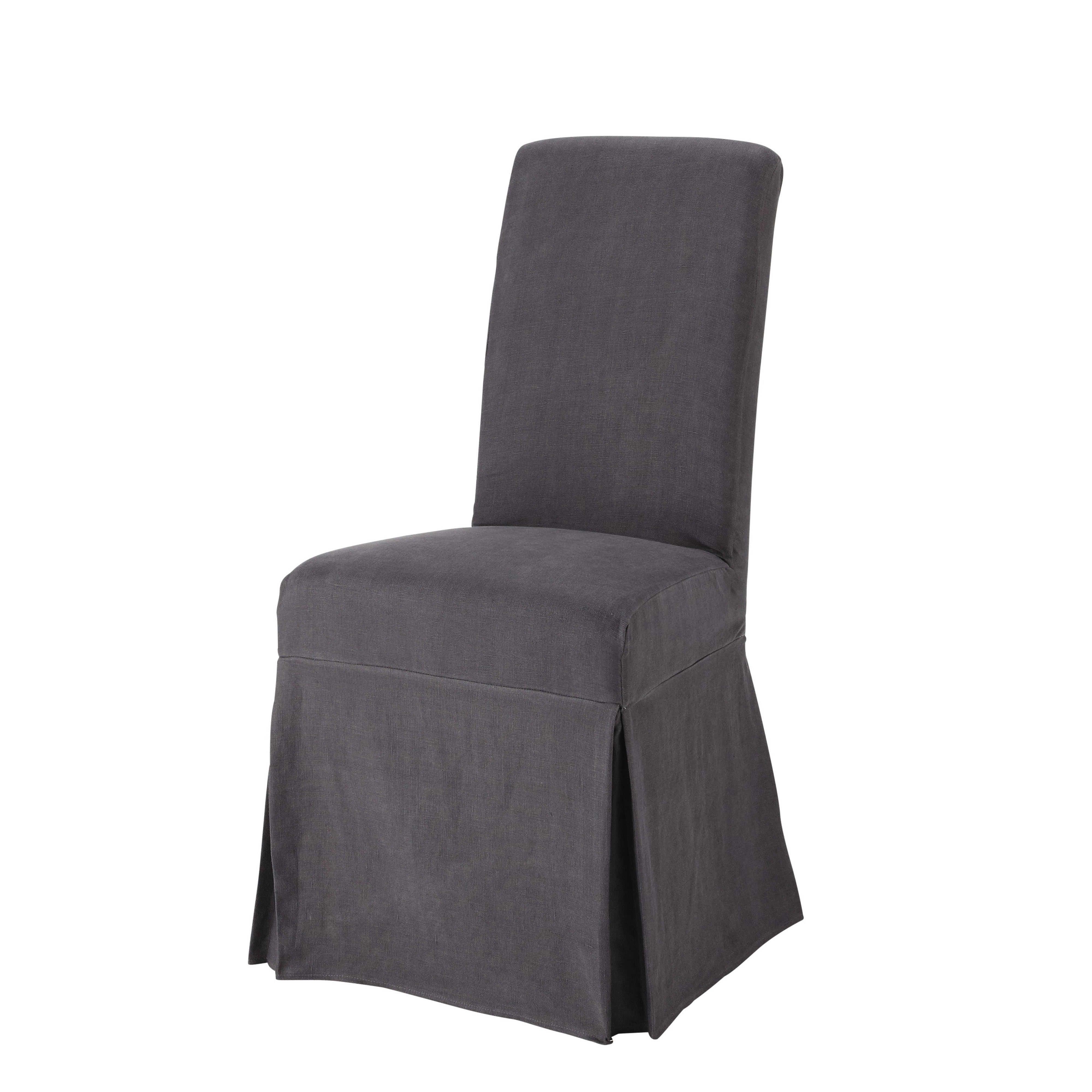 Margaux Fodera lunga color antracite in lino slavato per sedia