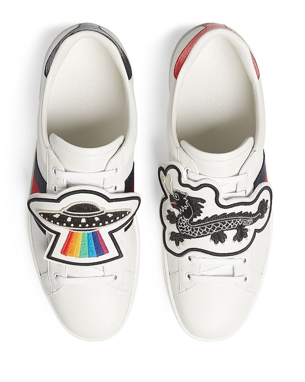 6061d2a6e Gucci Men's New Ace Leather Low-Top Sneakers with Removable Embroideries