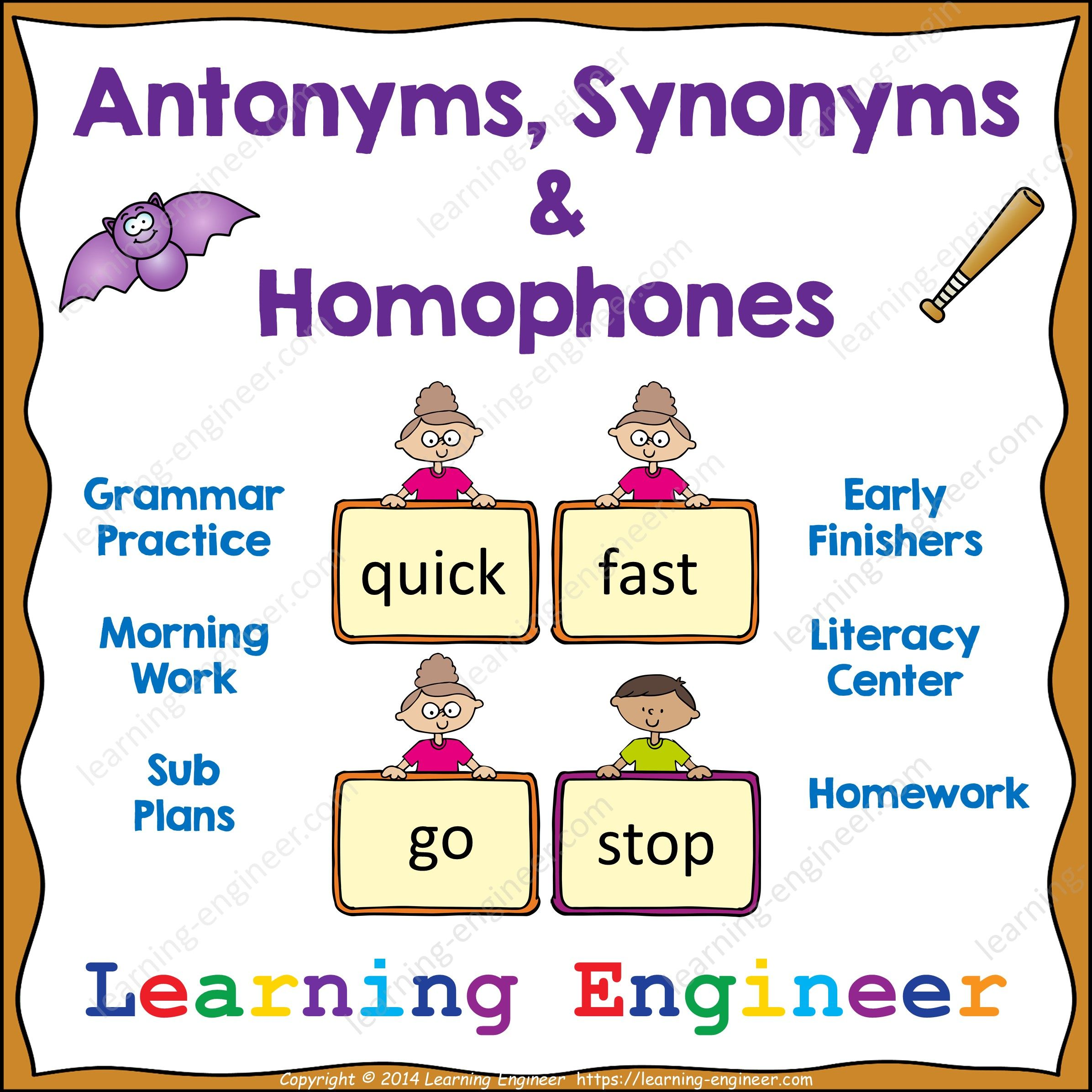 Antonyms Synonyms Homophones From Learning Engineer Antonyms