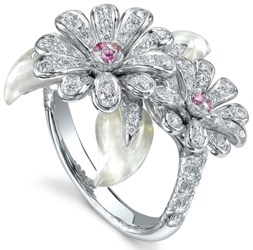 Asprey Crown Daisy Ring, Diamonds & Pink Sapphires. Crown Daisy Ring with pavé diamonds and pink sapphires, set in 18ct white gold.