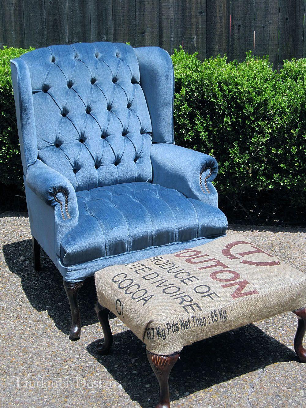 Nice Blue Wing Back Chair U0026 Ottoman