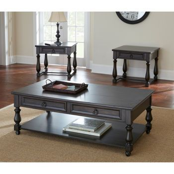 Carmel Occasional Table Set Coffee Table And 2 End Tables Solid Acacia Wood  With Charcoal Color FinishMild Distressing, Burnished Edges And Indentations