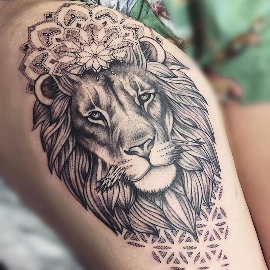 Feminine Lion Tattoo Leg Tattoos Lion Mandala Hip Tattoo