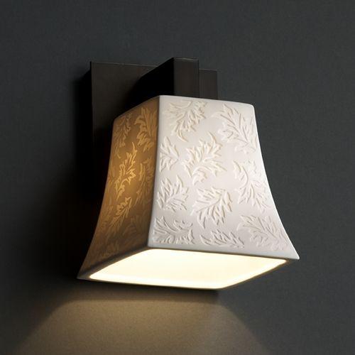 Justice Design Group Limoges Collection Sconce | POR-8921-40-LEAF-DBRZ | Destination Lighting
