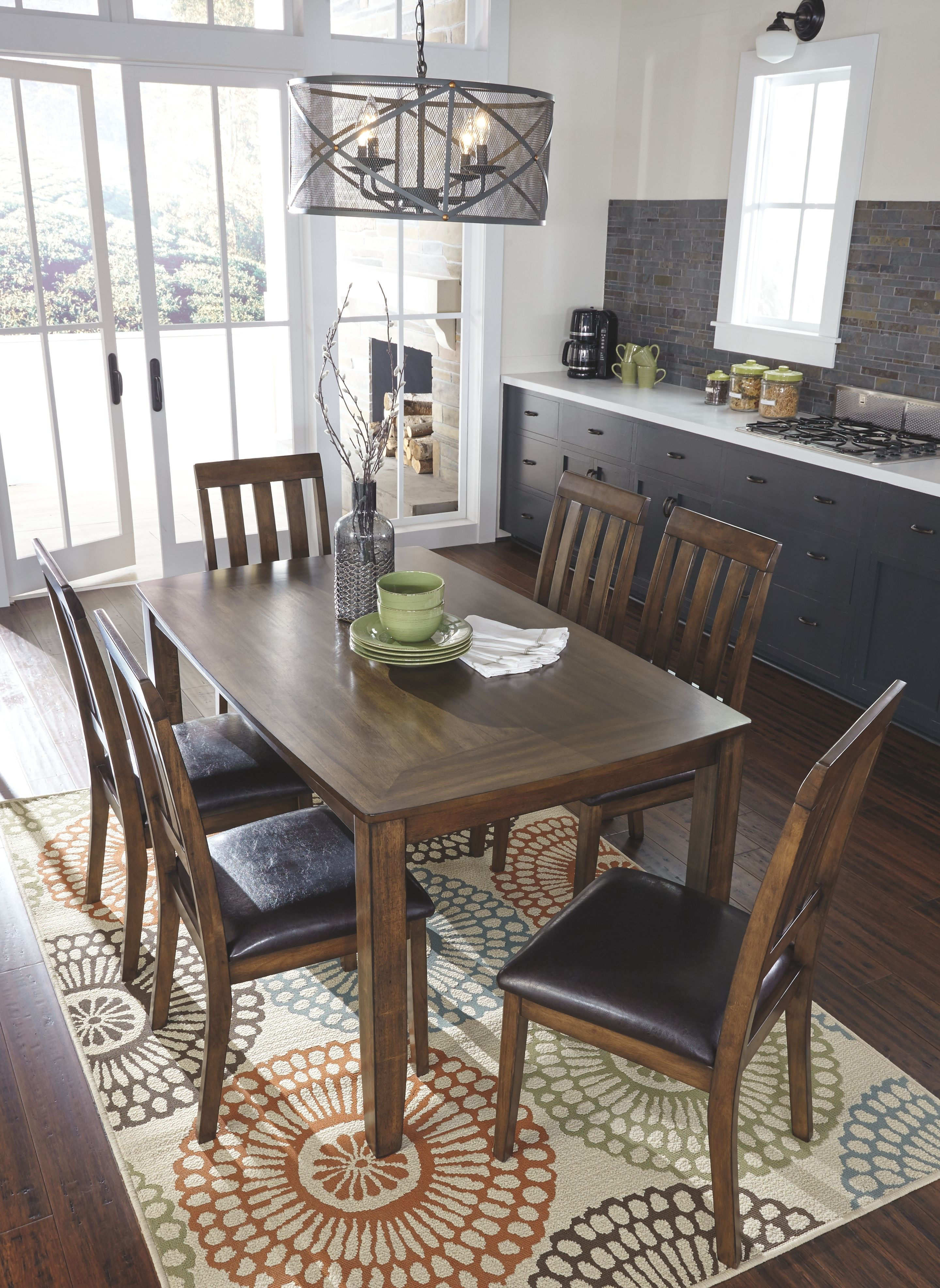 Puluxy Dining Room Table And Chairs Set Of 7 Brown Leather