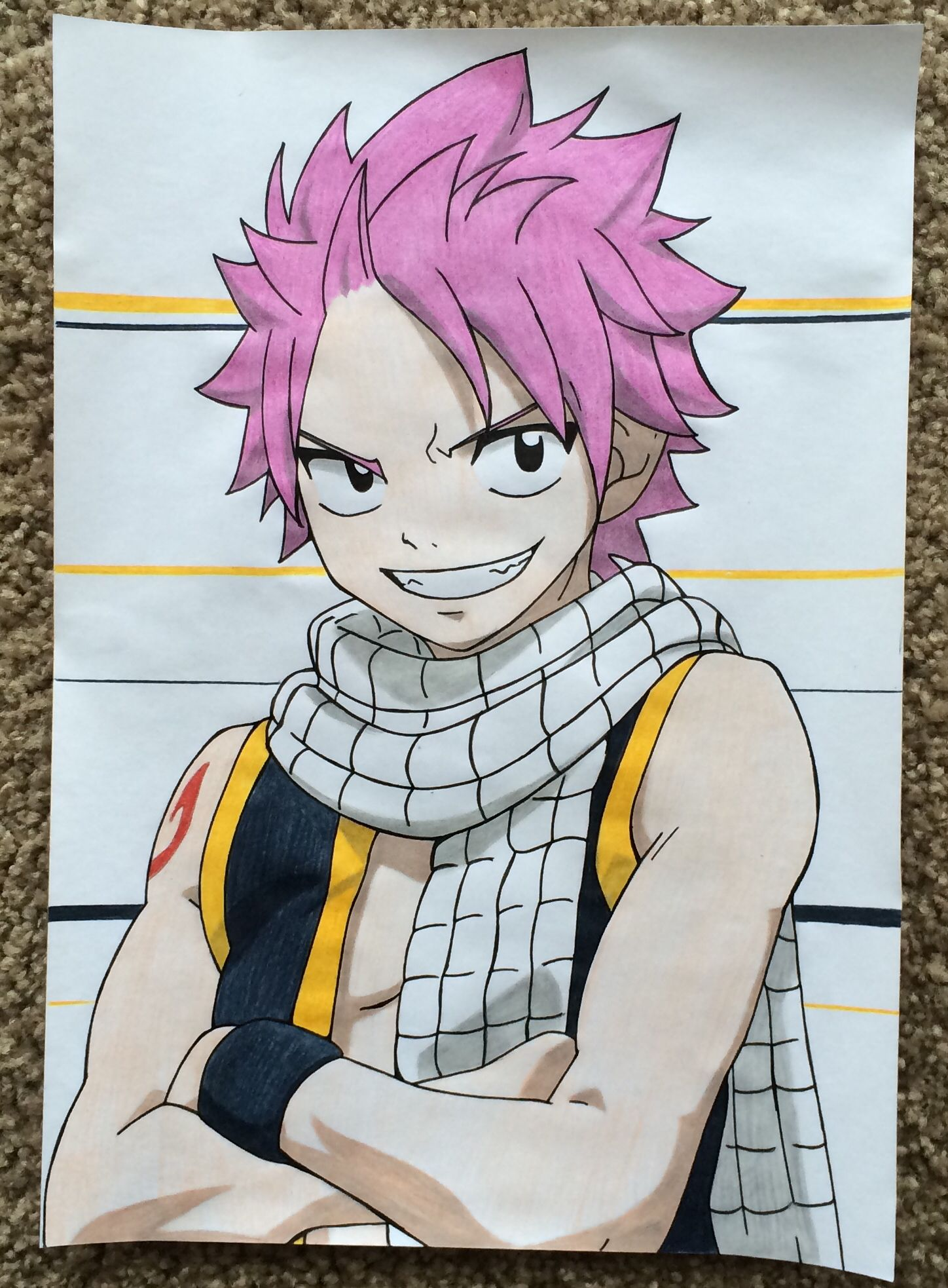 Colored manga websites - Natsu Dragneel Draw With Faber Castell Coloured Pencils