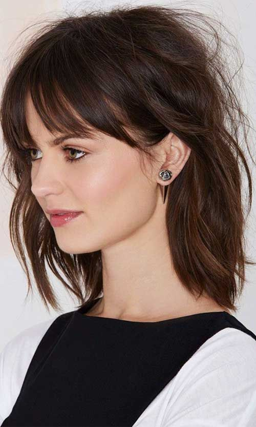 Shoulder Length Hairstyles With Bangs Shorttomediumlengthhairwithbangs2  Haircut  Pinterest