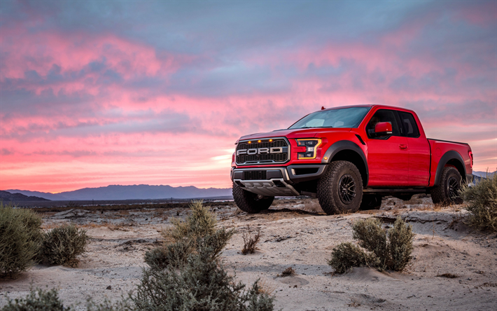 Download Wallpapers Ford F 150 Raptor 2019 Front View Exterior Sunset Evening New Red F 150 Pickup Truck Ford Ford Raptor Ford F150 Trucks