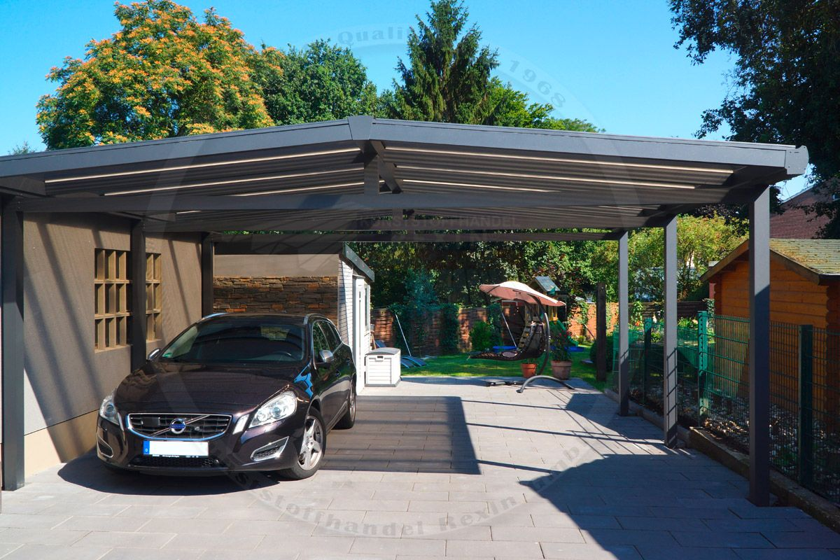alu carport der marke rexoport 6m x 6m in anthrazit bei diesem freistehenden aluminium. Black Bedroom Furniture Sets. Home Design Ideas