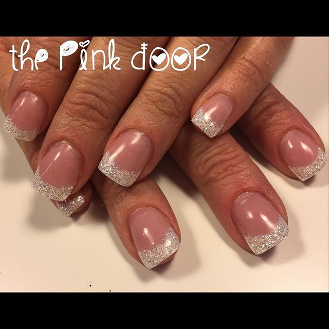 Such A Pretty Glittery French Manicure Now Accepting New Clients Book Online At Vagaro Com Thepinkdoor Or Call 303 498 0 Gel Polish Manicure Nails Manicure
