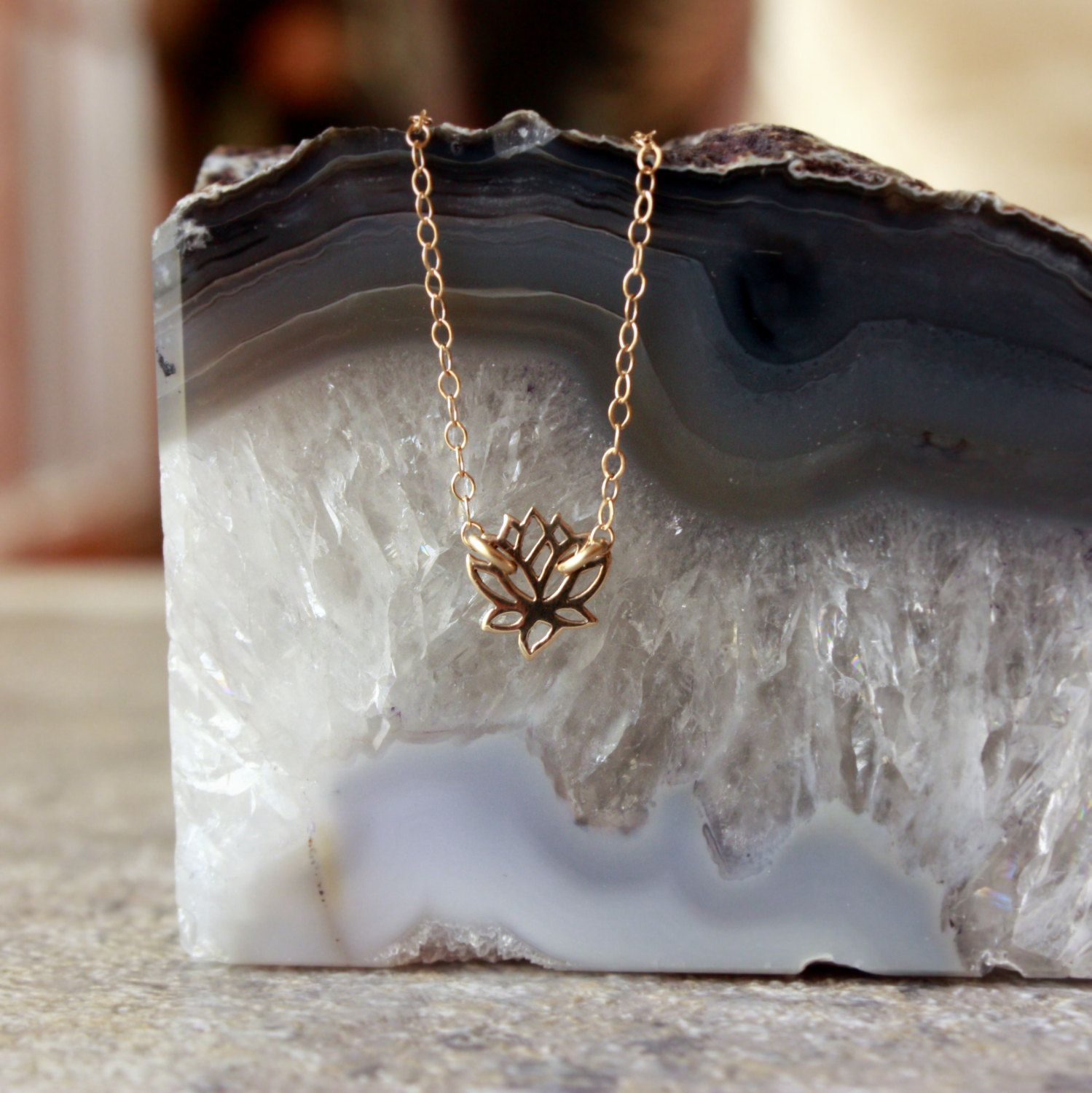 Tiny Lotus Necklace Gold Lotus Flower Charm Accessorize