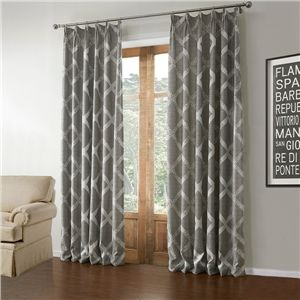 One Panel Modern Jacquard Grey Geometric Pattern Polyester Linen