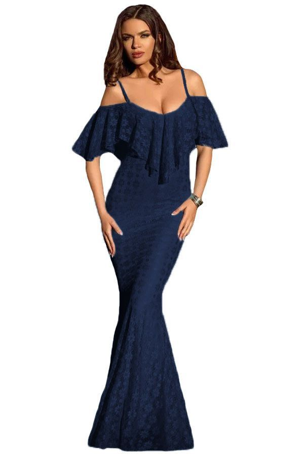 ccde555697 Spaghetti Straps Ruffled Off Shoulder Navy Mermaid Dress