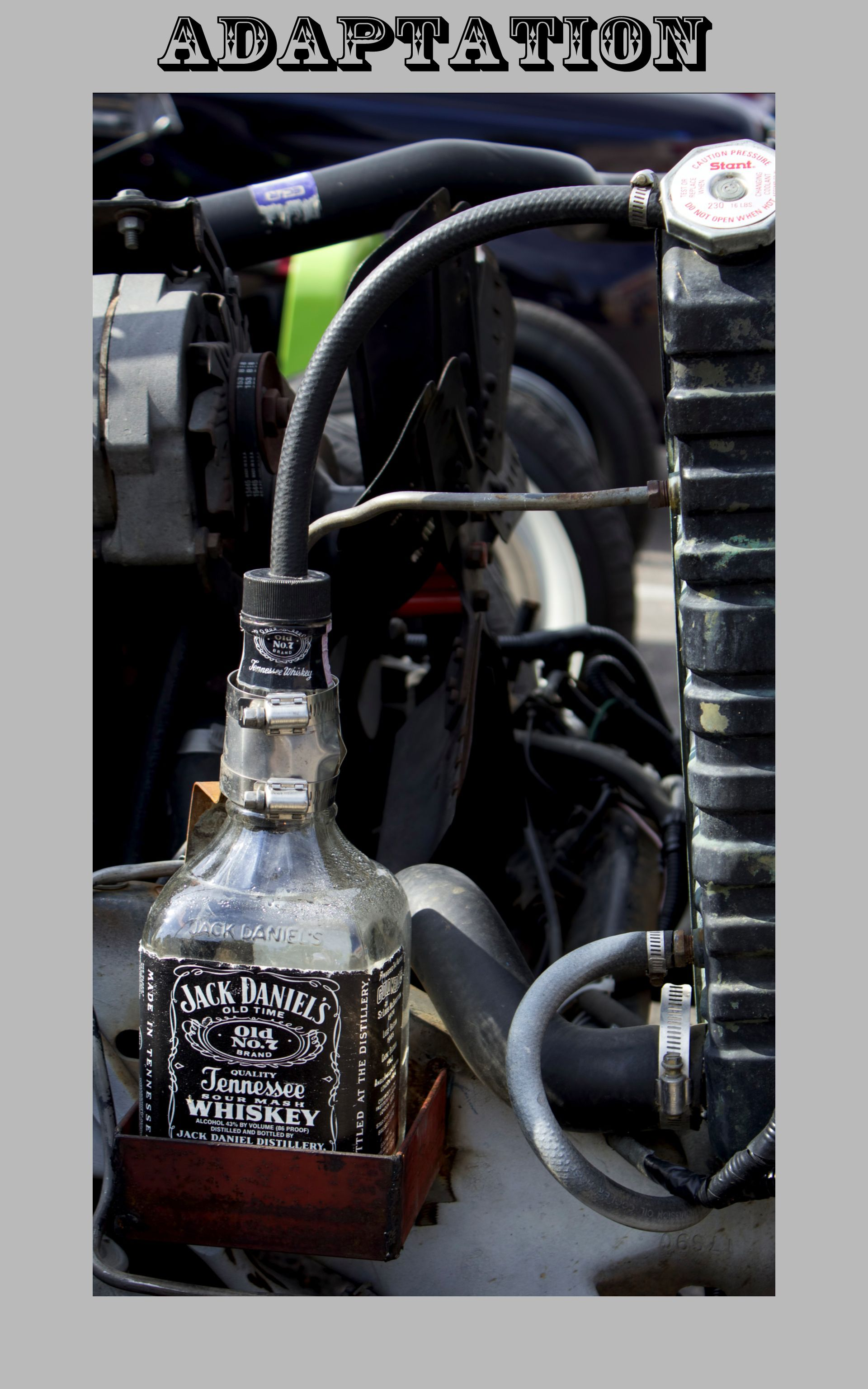 Design of bottle car jack - Adaptation A Whiskey Bottle Used As The Radiator Overflow