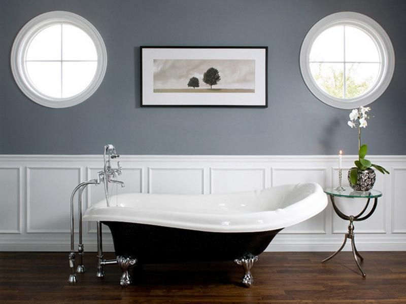 Bathroom: Wainscoting Bathroom Gray White PAint Color