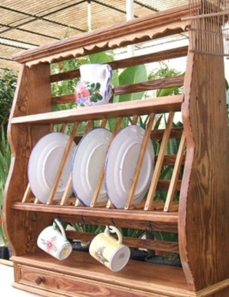 Porta platos de madera buscar con google hacer pinte for Repisas rusticas para cocina