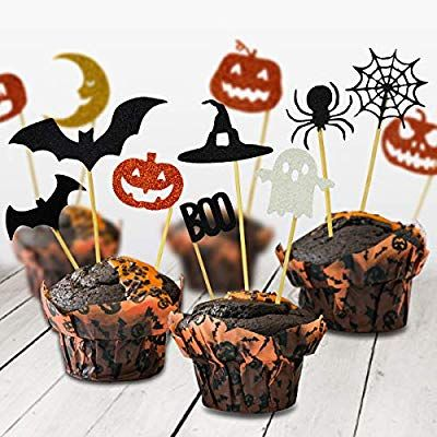 BOENFU Halloween Cupcake Toppers 24 Pieces for Halloween Party