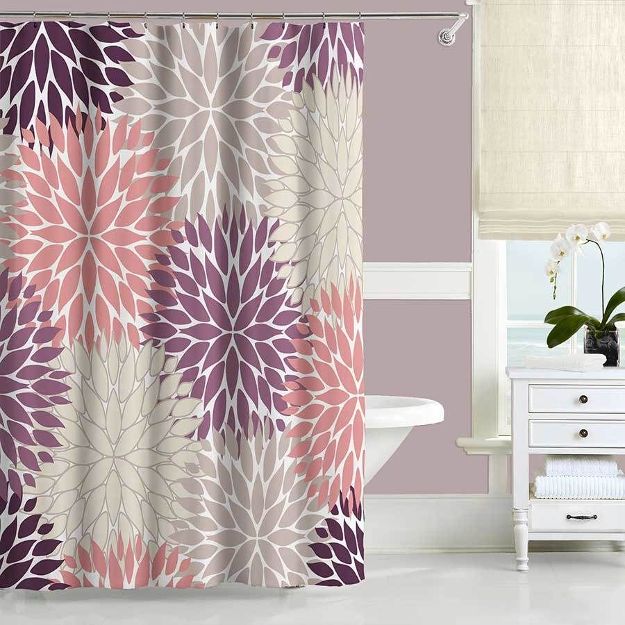 Dahlia Shower Curtain And Bath Mat Set In Purple Pink And Beige