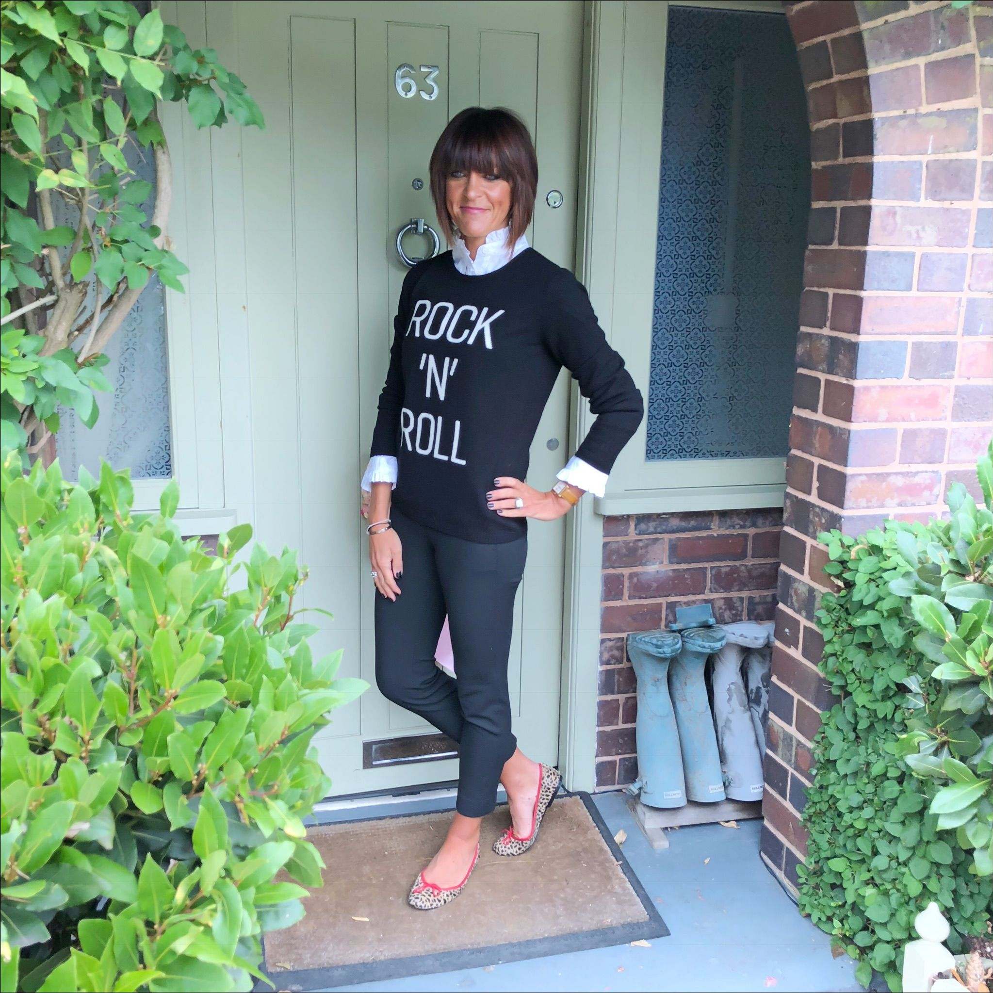 74fce9309da0 How to style a slogan knit jumper with a frill collar blouse, cropped  cigarette pants