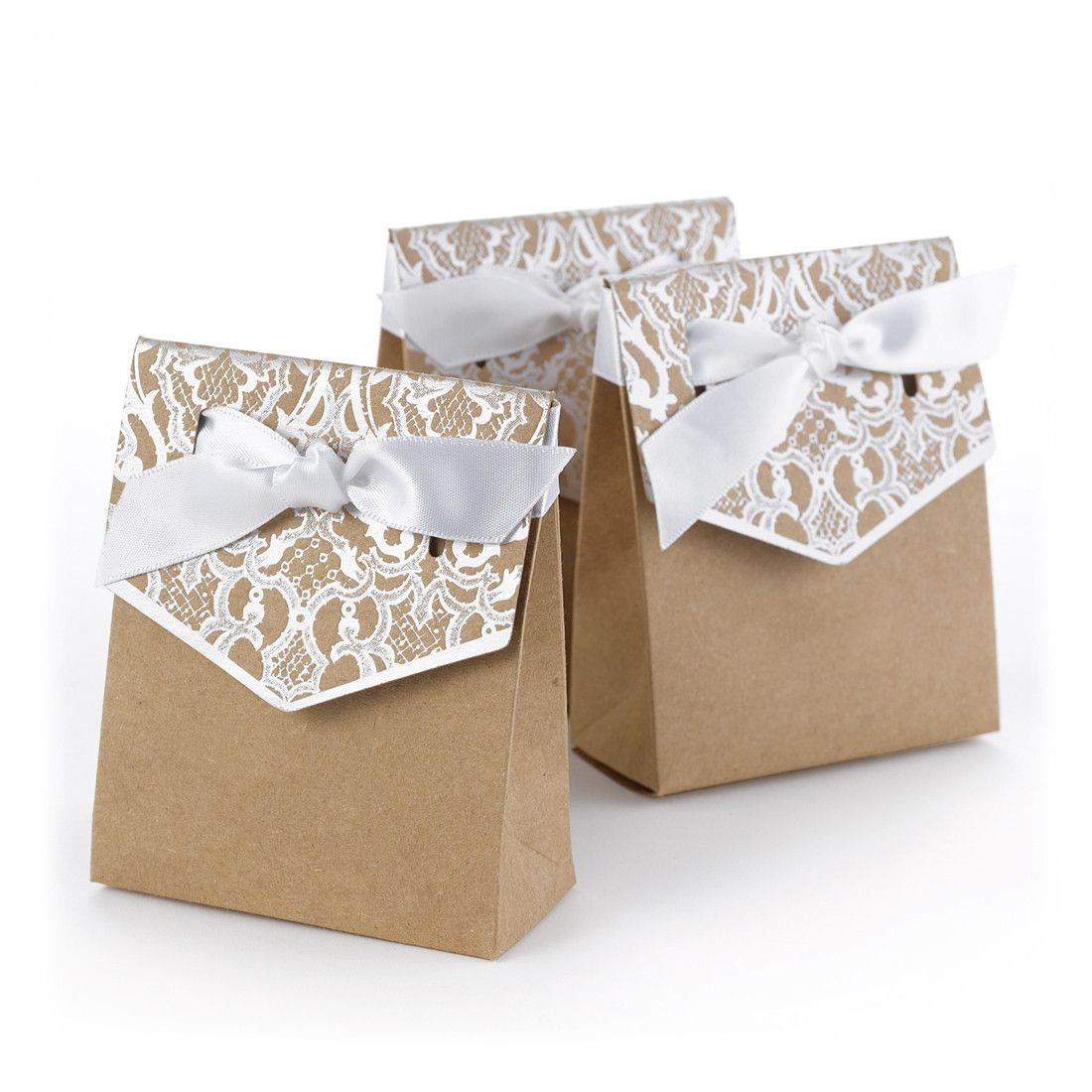 Vintage Kraft And Lace Tent Favor Box (Pack Of 25