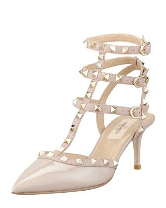 5ee27d6937f31 These pink pyramid-studded heels are the perfect combination of feminine  and edgy.    Rockstud Patent Leather Sandal by Valentino