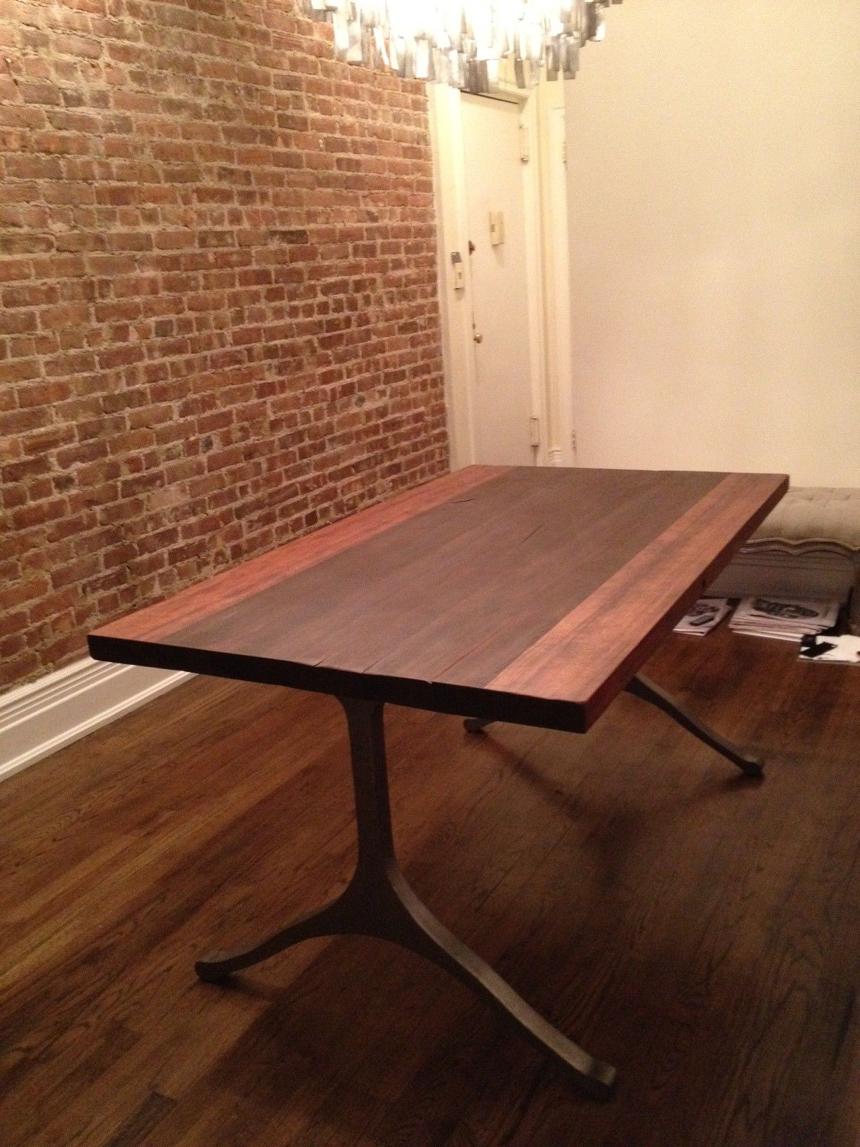 Iron Dining Table Legs Dining Table Made Out Of Reclaimed Water Tower Wood From Nyc