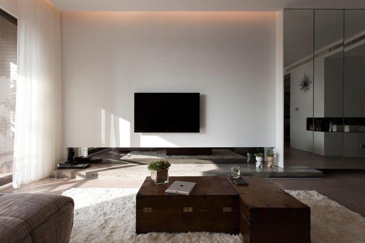 indirekte Led Beleuchtung an der Decke mit warmem orangenfarbenen - indirektes licht wohnzimmer